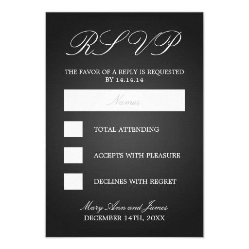 Elegant Wedding RSVP Monogrammed Hearts Black Personalized Announcement