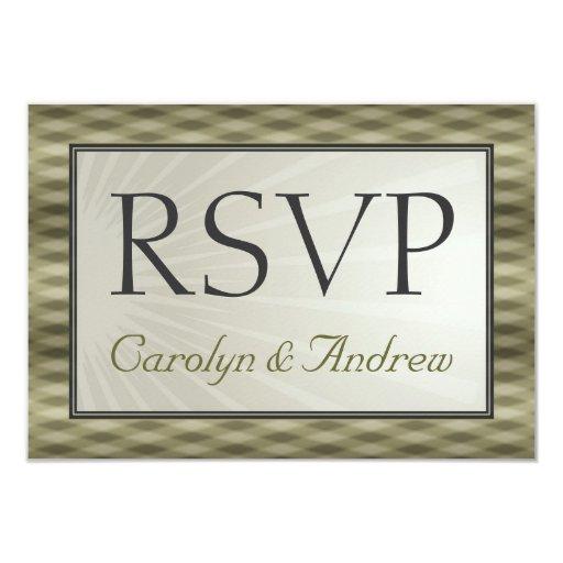 Elegant Wedding RSVP Names Gold Cream Sunburst Card