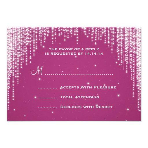 Elegant Wedding RSVP Night Dazzle Berry Pink Personalized Invite