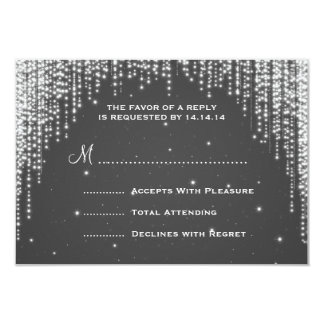Elegant Wedding RSVP Night Dazzle Black Card
