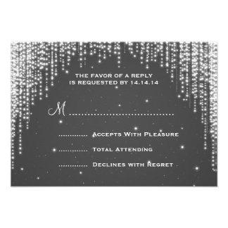 Elegant Wedding RSVP Night Dazzle Black Personalized Invitations