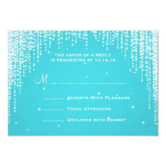 Elegant Wedding RSVP Night Dazzle Blue Card