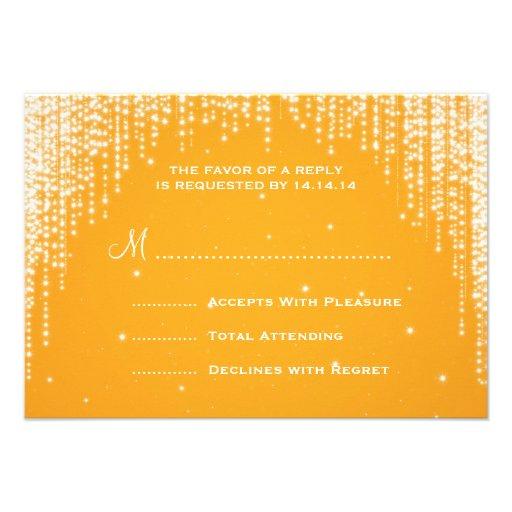 Elegant Wedding RSVP Night Dazzle Orange Personalized Announcement