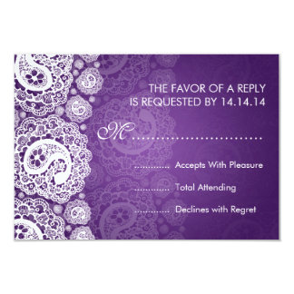 "Elegant Wedding RSVP Paisley Lace Purple 3.5"" X 5"" Invitation Card"