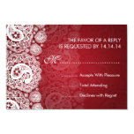 Elegant Wedding RSVP Paisley Lace Red 3.5x5 Paper Invitation Card
