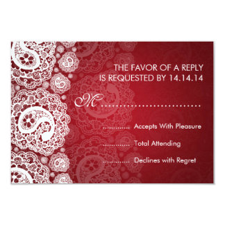 Elegant Wedding RSVP Paisley Lace Red Card