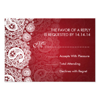 Elegant Wedding RSVP Paisley Lace Red Custom Announcements