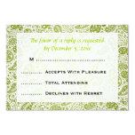"Elegant Wedding RSVP Paisley Pattern Lime Green 3.5"" X 5"" Invitation Card"