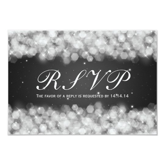 Elegant Wedding RSVP Party Sparkle Black Card