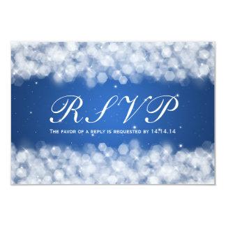 Elegant Wedding RSVP Party Sparkle Blue 3.5x5 Paper Invitation Card