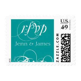 Elegant Wedding RSVP Postage Stamps  Teal