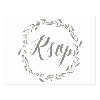 Elegant Wedding RSVP Postcards Grey Floral Wreath