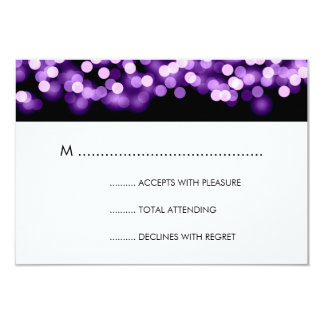 Elegant Wedding RSVP Purple Hollywood Glam 3.5x5 Paper Invitation Card