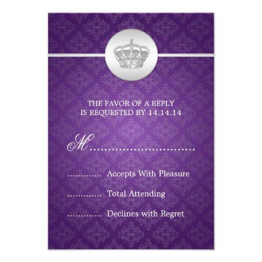 Elegant Wedding RSVP Royal Crown Purple Personalized Invites