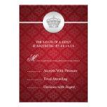 Elegant Wedding RSVP Royal Crown Red Invitation