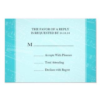 Elegant Wedding RSVP Sheet Music Blue Card
