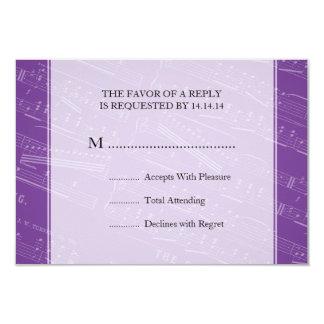 Elegant Wedding RSVP Sheet Music Purple Card