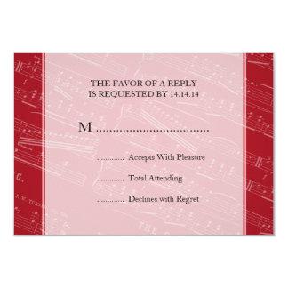 Elegant Wedding RSVP Sheet Music Red 3.5x5 Paper Invitation Card