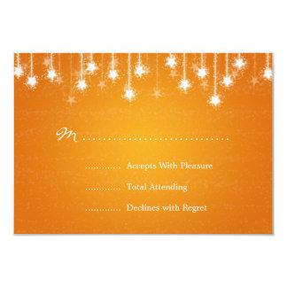 Elegant Wedding RSVP Shimmering Stars Orange 3.5x5 Paper Invitation Card