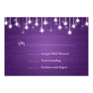 Elegant Wedding RSVP Shimmering Stars Purple Custom Announcement