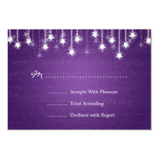 Elegant Wedding RSVP Shimmering Stars Purple 3.5x5 Paper Invitation Card