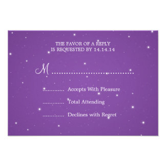 Elegant Wedding RSVP Sparkling Chain Purple Personalized Announcements