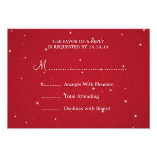 Elegant Wedding RSVP Sparkling Chain Red Personalized Invite