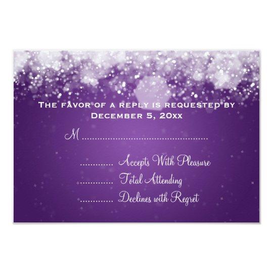 Elegant Wedding RSVP Sparkling Night Purple Card
