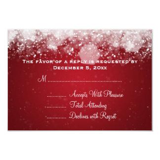 Elegant Wedding RSVP Sparkling Night Red 3.5x5 Paper Invitation Card