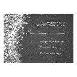 Elegant Wedding RSVP Sparkling Wave Black Invitation