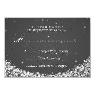 Elegant Wedding RSVP Star Sparkle Black 3.5x5 Paper Invitation Card
