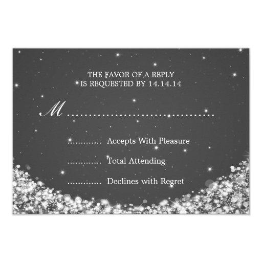 Elegant Wedding RSVP Star Sparkle Black Custom Invites