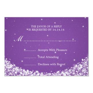 Elegant Wedding RSVP Star Sparkle Purple Card