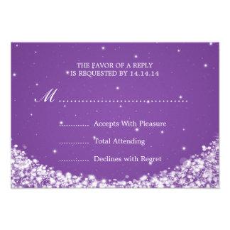Elegant Wedding RSVP Star Sparkle Purple Personalized Announcements