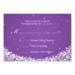 Elegant Wedding RSVP Star Sparkle Purple 3.5x5 Paper Invitation Card