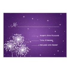 Elegant Wedding RSVP Summer Sparkle Purple 3.5x5 Paper Invitation Card at Zazzle