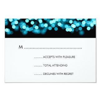 Elegant Wedding RSVP Turquoise Hollywood Glam Card