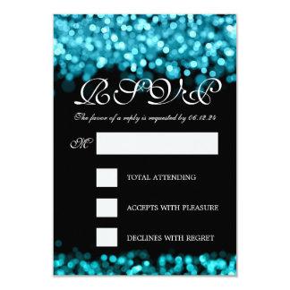 Elegant Wedding RSVP Turquoise Lights 3.5x5 Paper Invitation Card