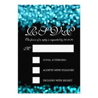 Elegant Wedding RSVP Turquoise Lights Announcement