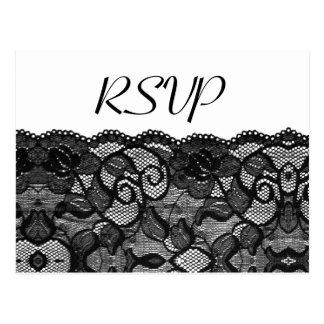 Elegant Wedding RSVP Vintage Black Lace Postcard