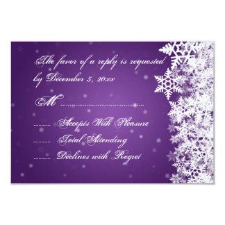 Elegant Wedding RSVP Winter Snowflakes Purple 3.5x5 Paper Invitation Card