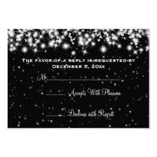 Elegant Wedding RSVP Winter Sparkle Black 3.5x5 Paper Invitation Card