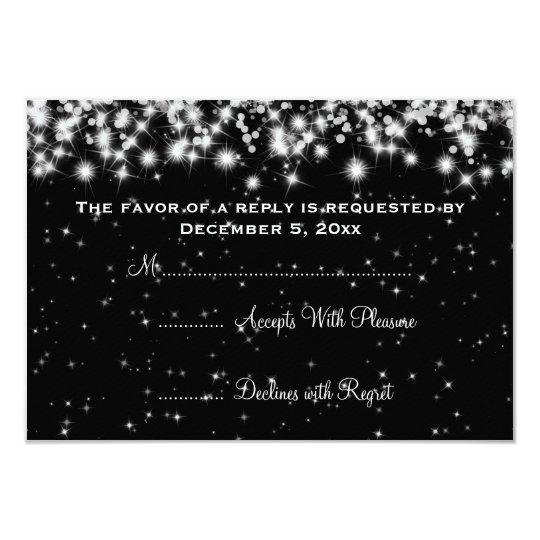 Elegant Wedding RSVP Winter Sparkle Black Card