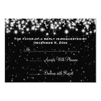 Elegant Wedding RSVP Winter Sparkle Black Custom Invitations