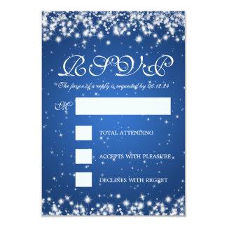 Elegant Wedding RSVP Winter Sparkle Blue 3.5x5 Paper Invitation Card