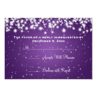 Elegant Wedding RSVP Winter Sparkle Purple Card