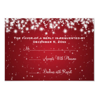 Elegant Wedding RSVP Winter Sparkle Red 3.5x5 Paper Invitation Card