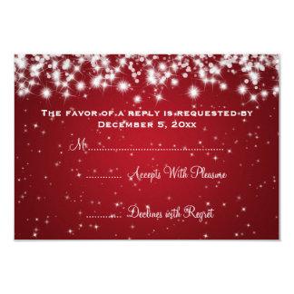 Elegant Wedding RSVP Winter Sparkle Red Card