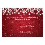 Elegant Wedding RSVP Winter Sparkle Red Custom Invite