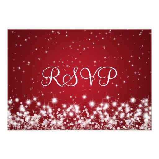 Elegant Wedding RSVP Winter Sparkle Red Custom Invite (back side)